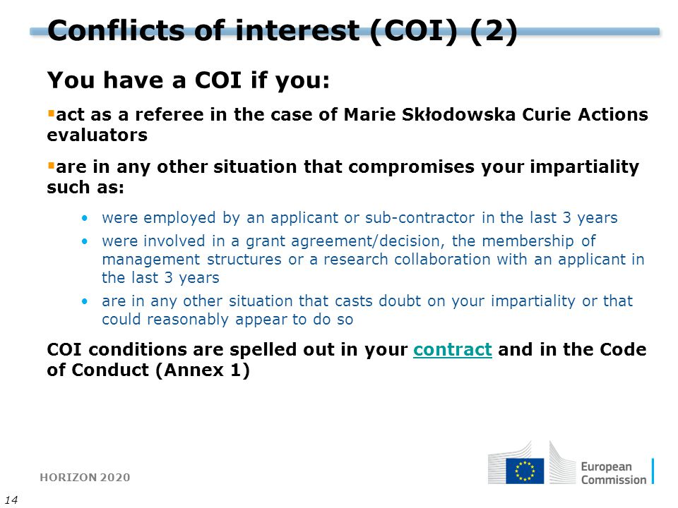 Conflicts of interest (COI) (2)