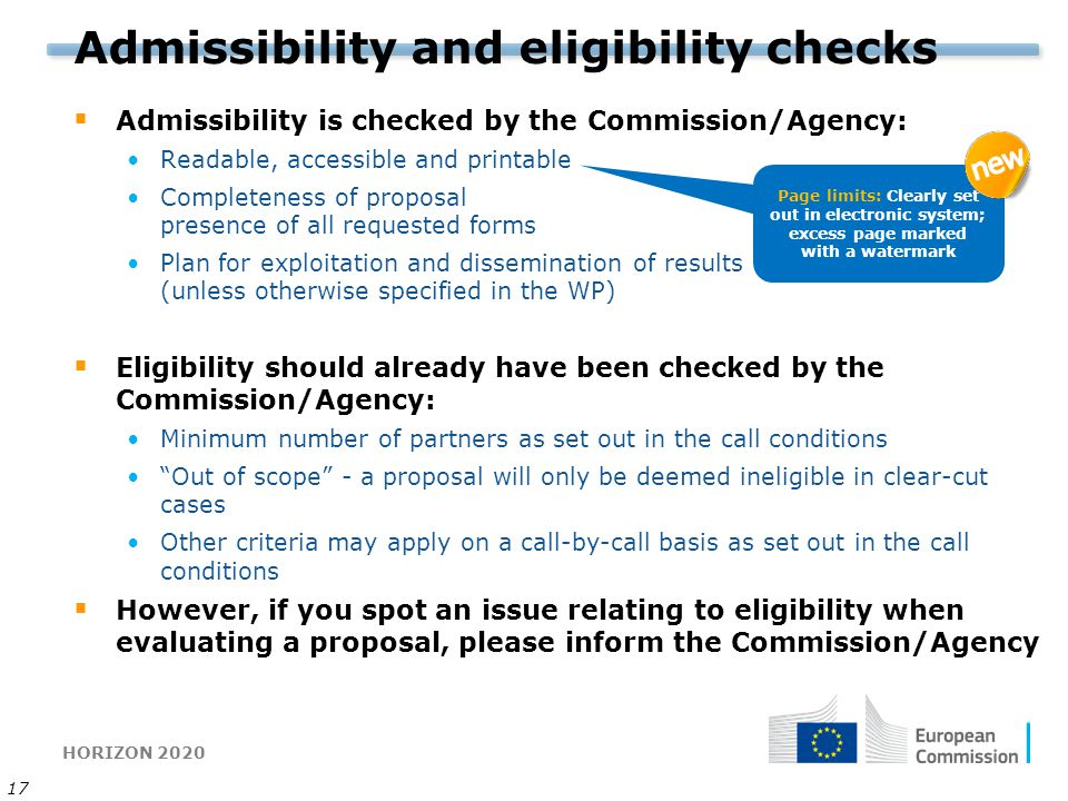 Admissibility and eligibility checks