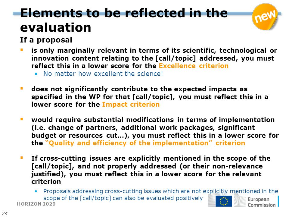 Elements to be reflected in the evaluation