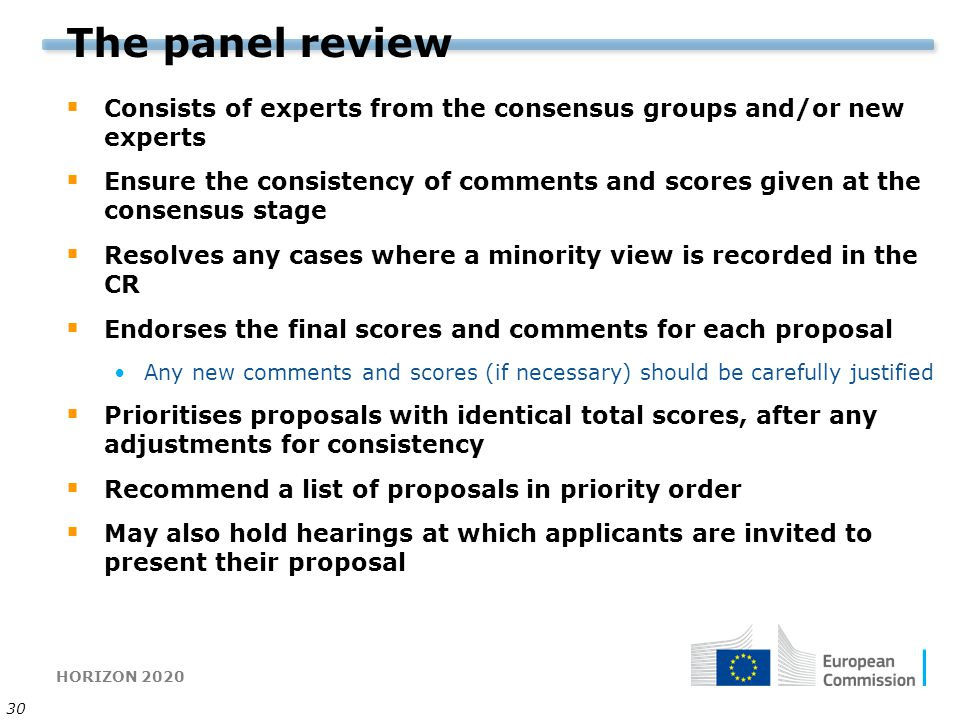 The panel review Consists of experts from the consensus groups and/or new experts.