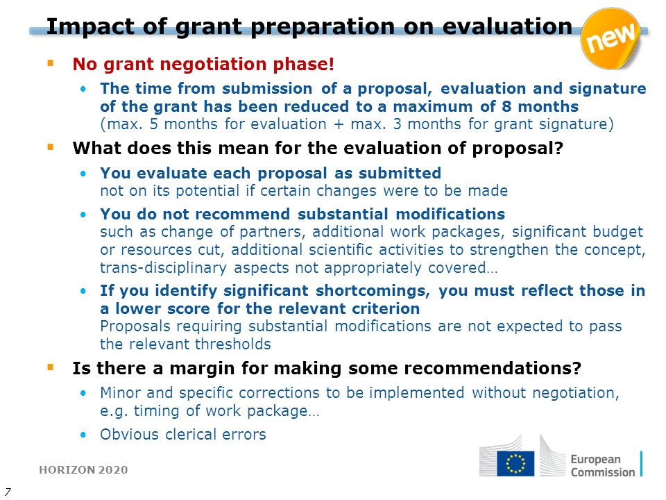 Impact of grant preparation on evaluation