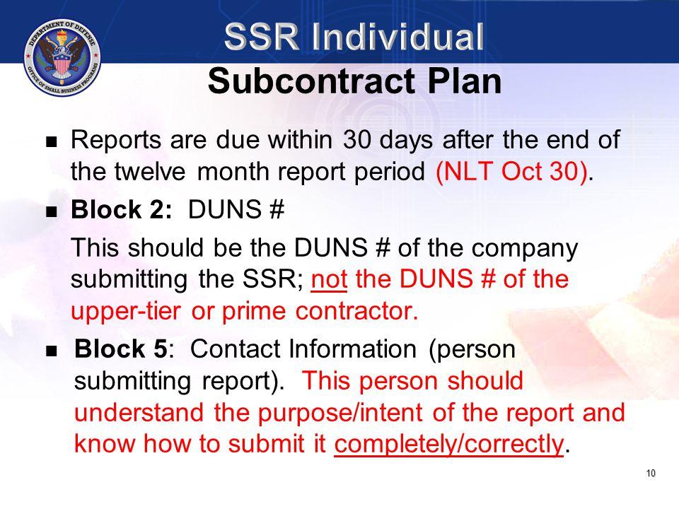 SSR Individual Subcontract Plan