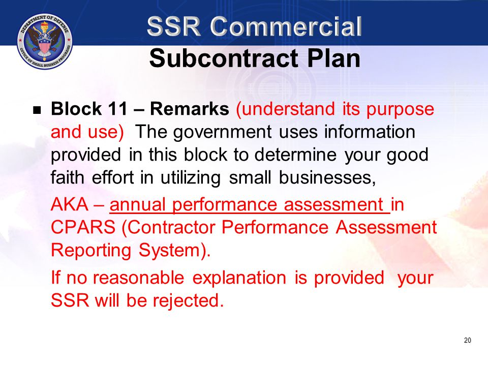 SSR Commercial Subcontract Plan
