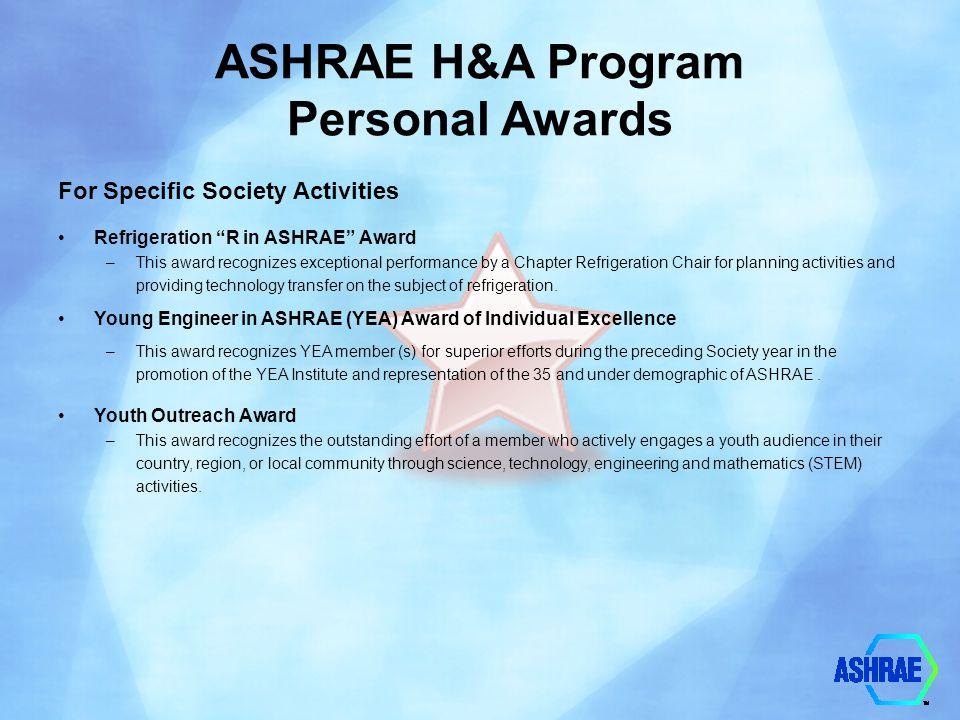 ASHRAE H&A Program Personal Awards