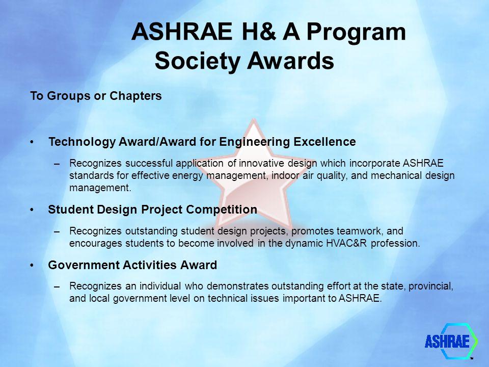 ASHRAE H& A Program Society Awards