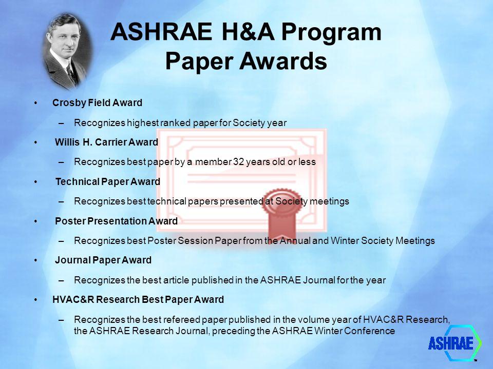 ASHRAE H&A Program Paper Awards