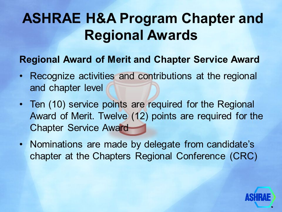 ASHRAE H&A Program Chapter and Regional Awards
