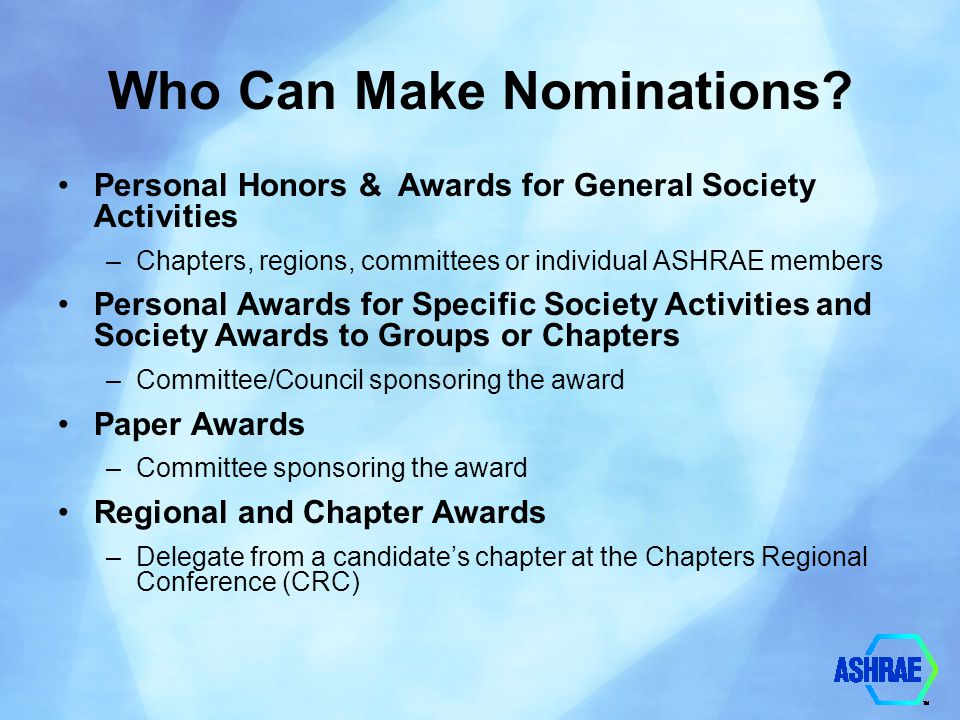 Who Can Make Nominations