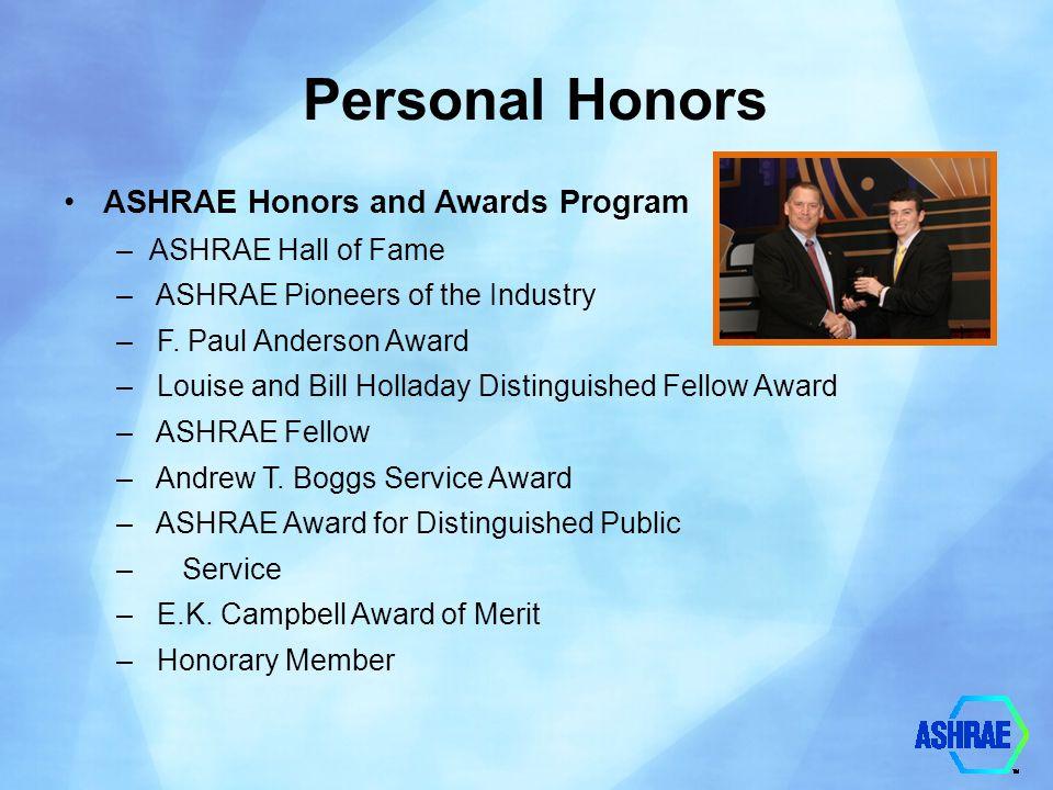 Personal Honors ASHRAE Honors and Awards Program ASHRAE Hall of Fame