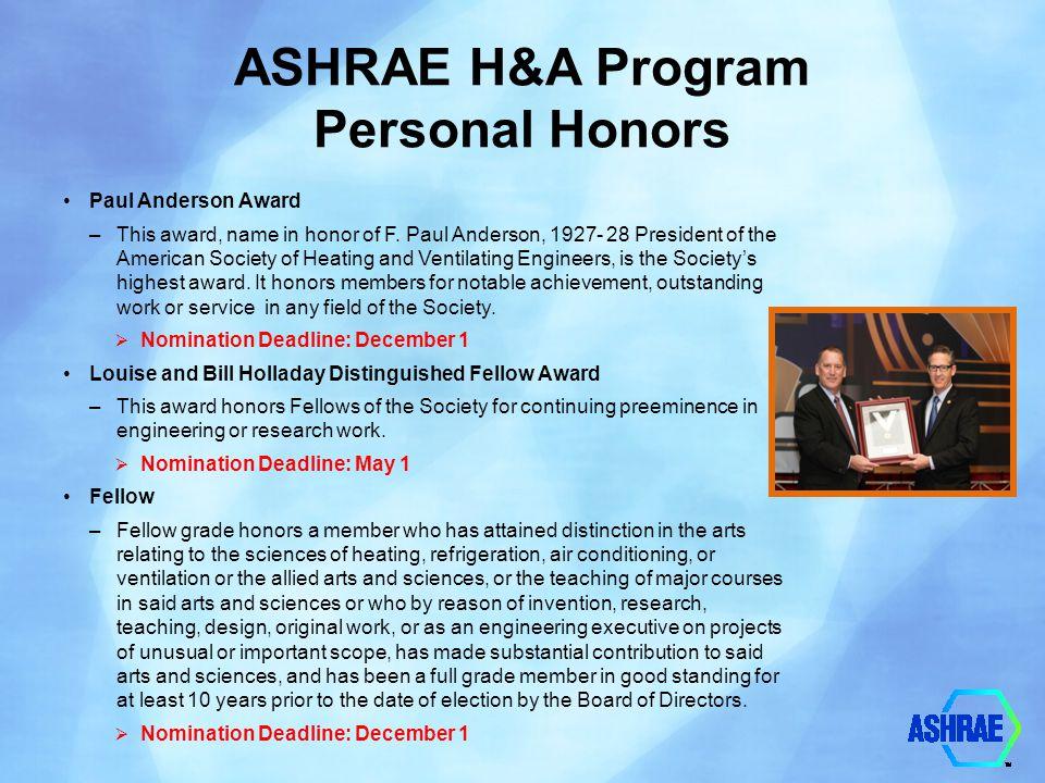 ASHRAE H&A Program Personal Honors