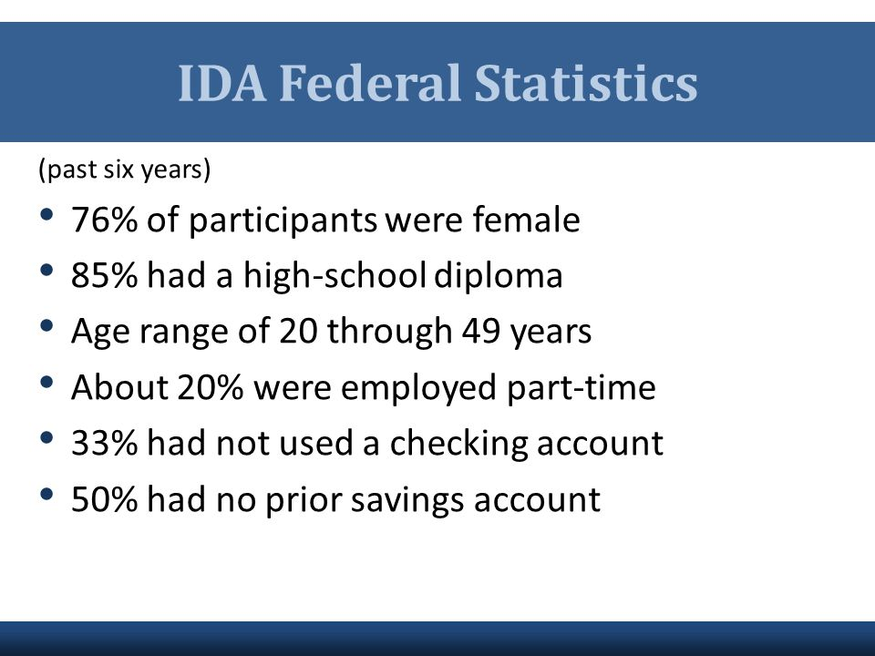 IDA Federal Statistics