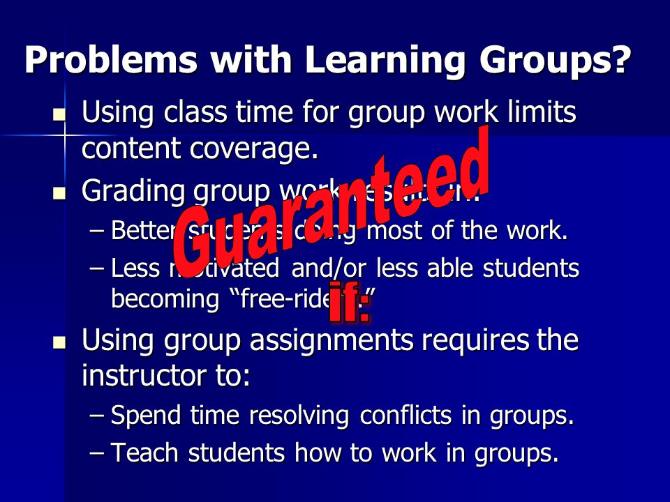 Problems with Learning Groups