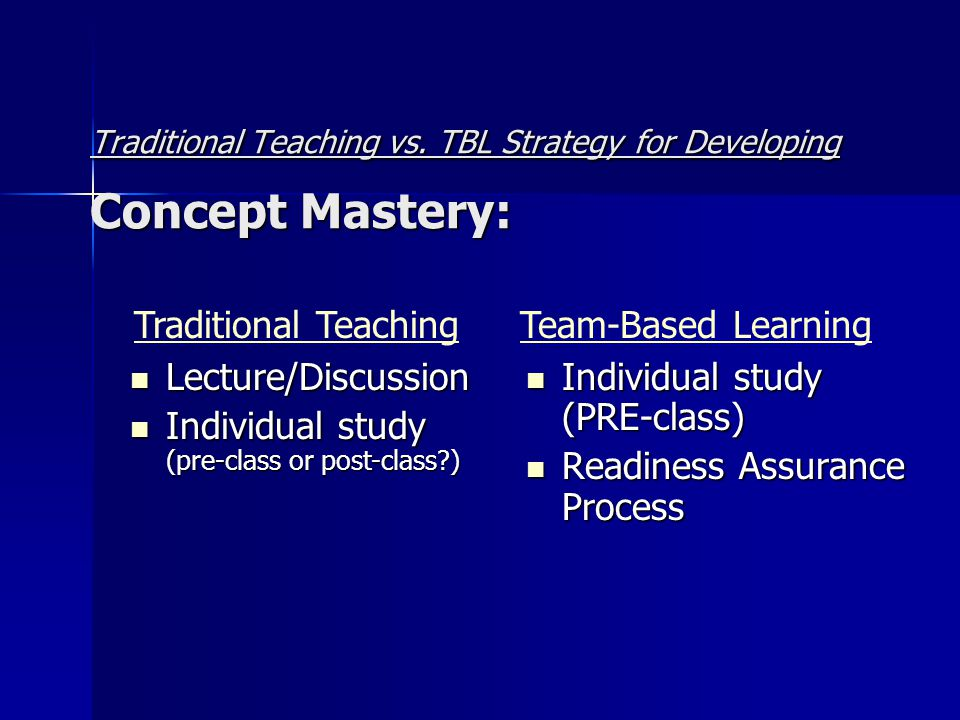 Traditional Teaching vs. TBL Strategy for Developing Concept Mastery: