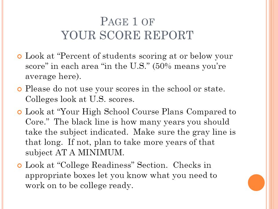 Page 1 of YOUR SCORE REPORT
