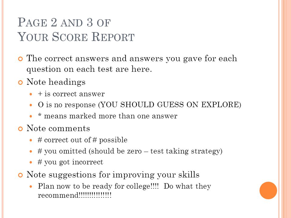 Page 2 and 3 of Your Score Report