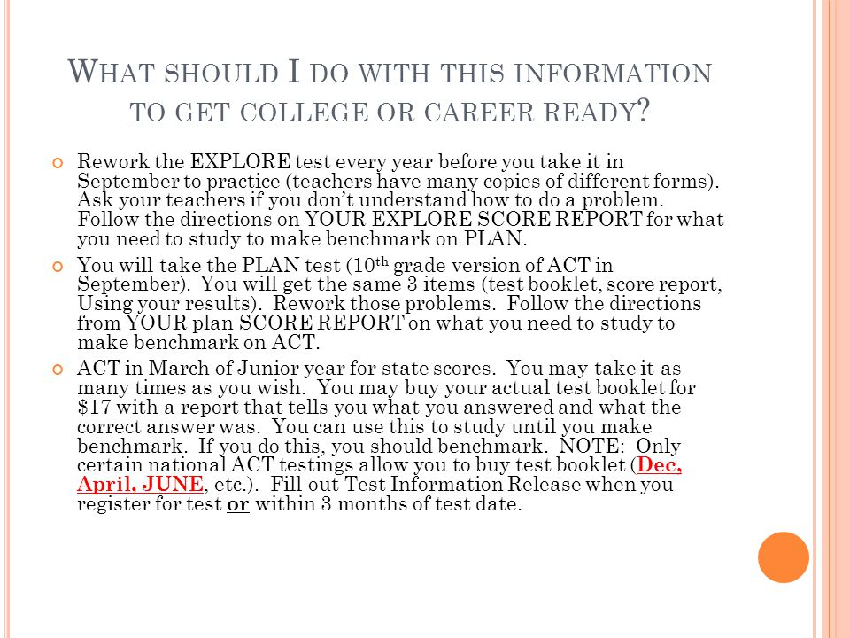 What should I do with this information to get college or career ready
