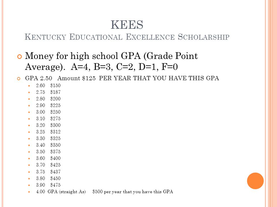 KEES Kentucky Educational Excellence Scholarship