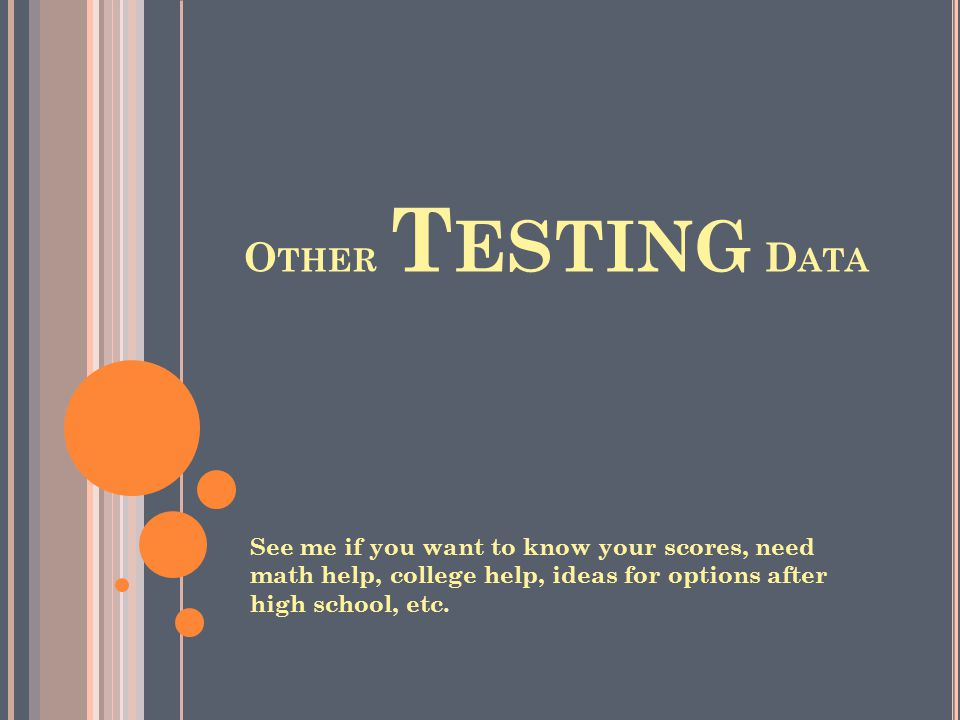 Other Testing Data See me if you want to know your scores, need math help, college help, ideas for options after high school, etc.