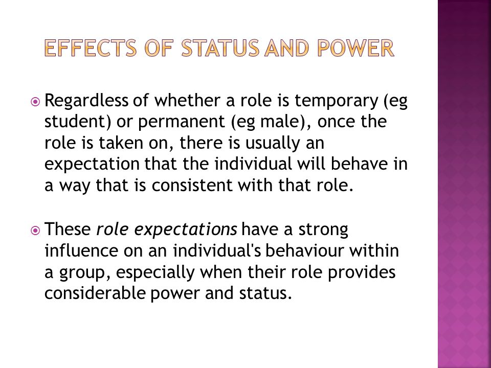 Effects of Status and power