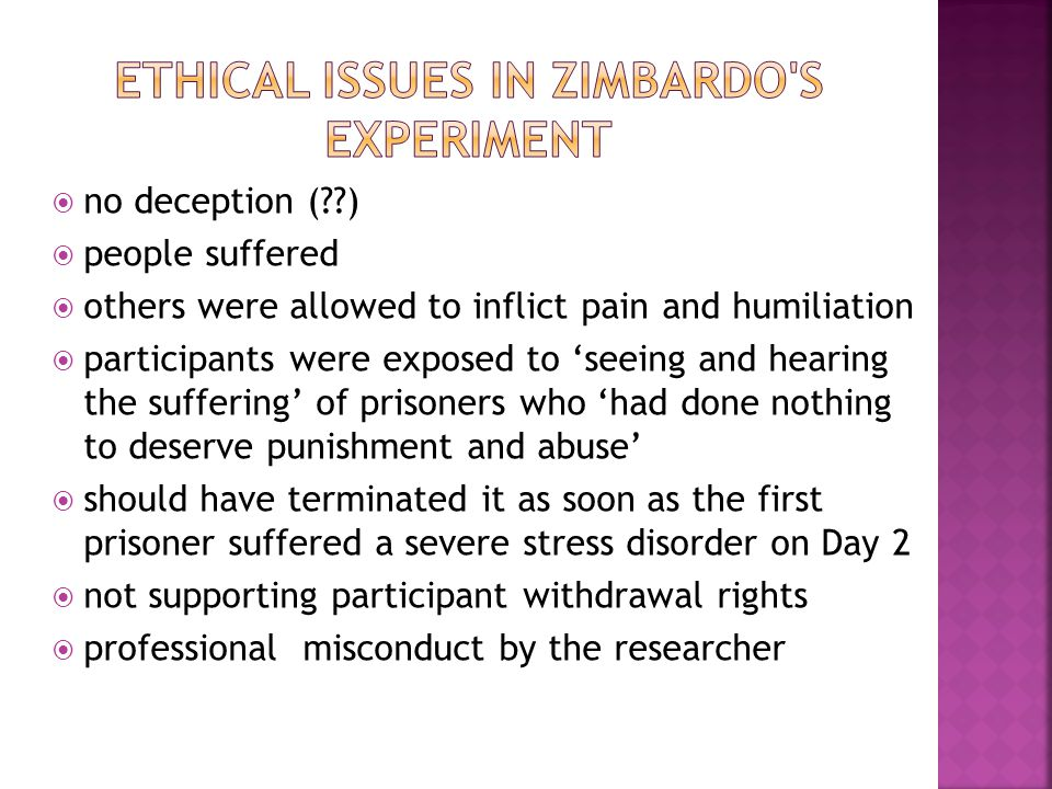 Ethical issues in Zimbardo s experiment