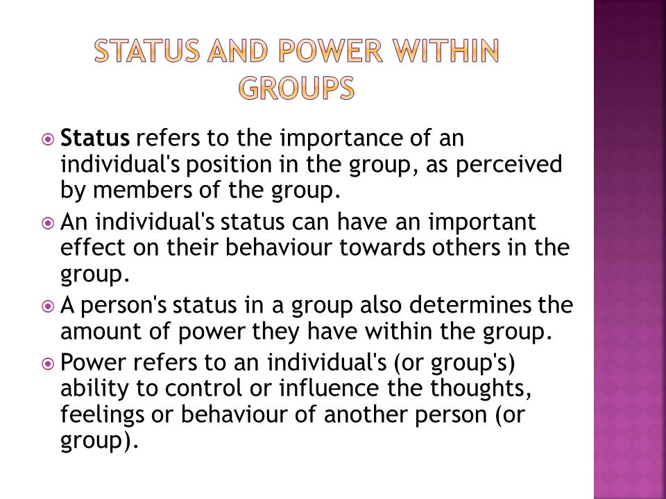 Status and Power within groups
