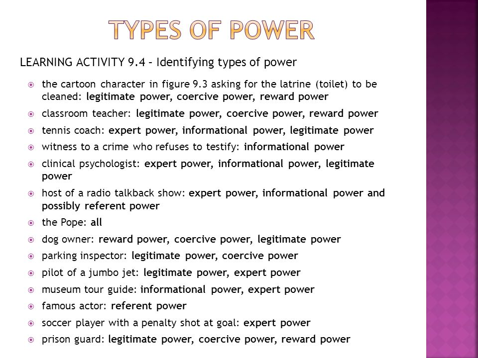 Types of power LEARNING ACTIVITY 9.4 – Identifying types of power
