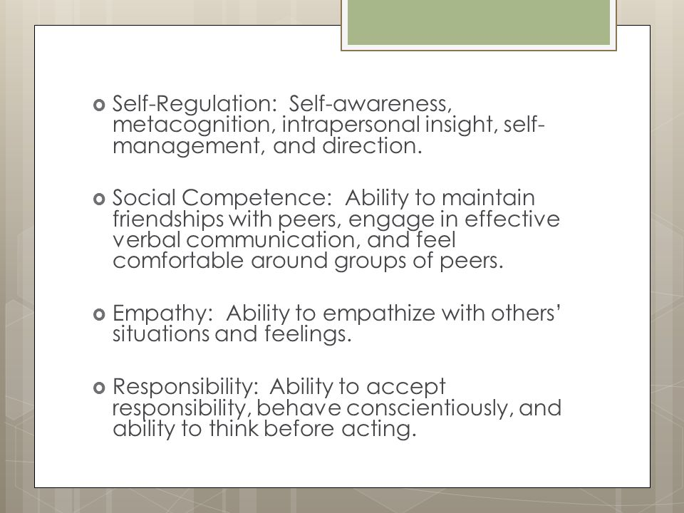 Self-Regulation: Self-awareness, metacognition, intrapersonal insight, self-management, and direction.