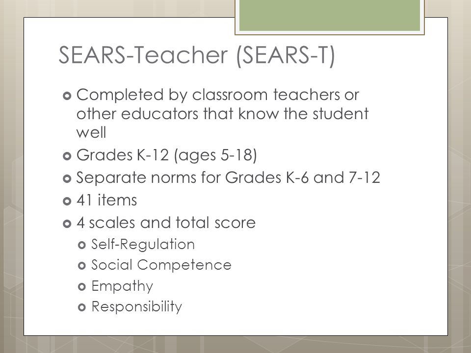 SEARS-Teacher (SEARS-T)
