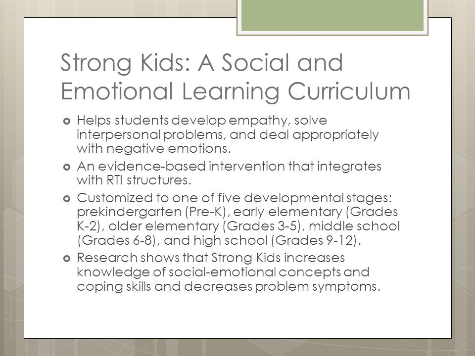 Strong Kids: A Social and Emotional Learning Curriculum
