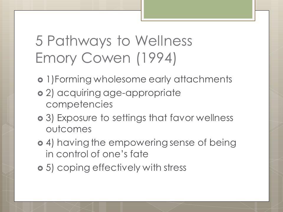 5 Pathways to Wellness Emory Cowen (1994)