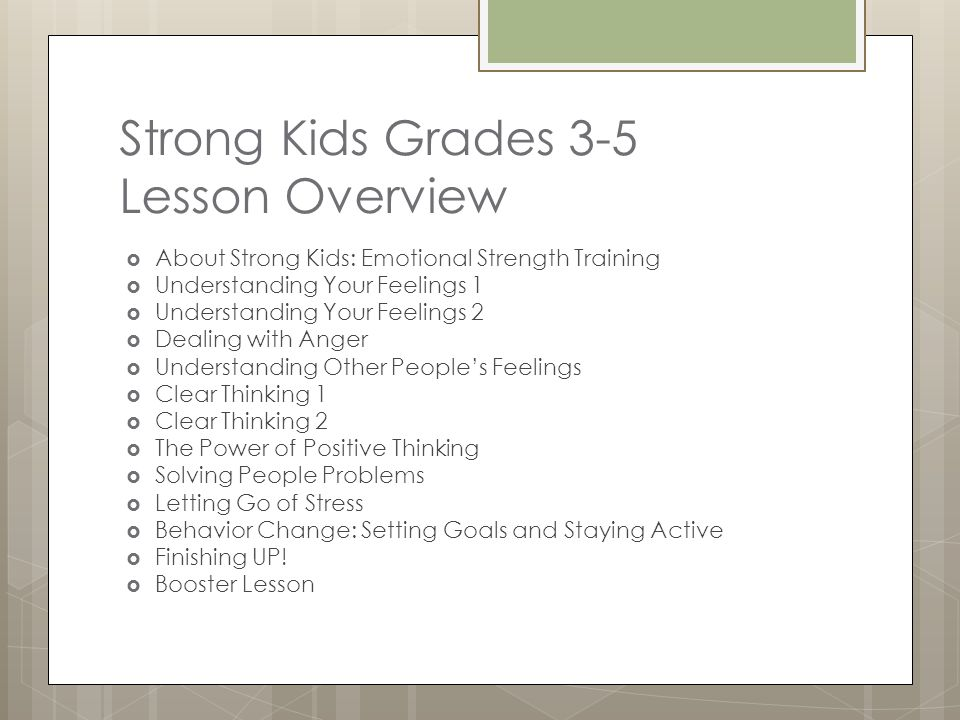 Strong Kids Grades 3-5 Lesson Overview