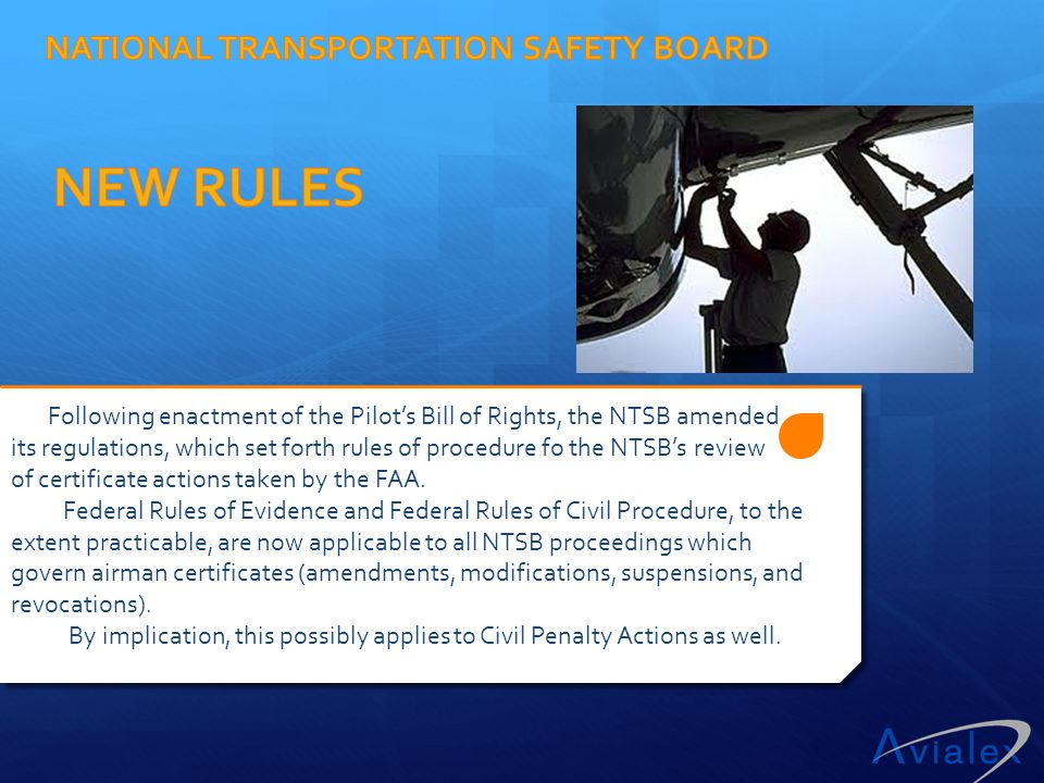 NATIONAL TRANSPORTATION SAFETY BOARD NEW RULES