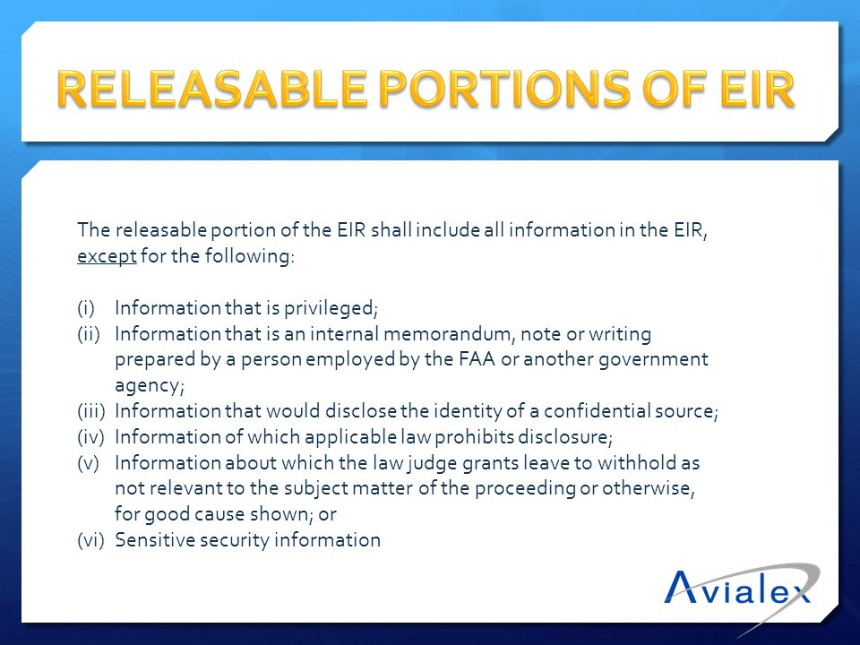 RELEASABLE PORTIONS OF EIR