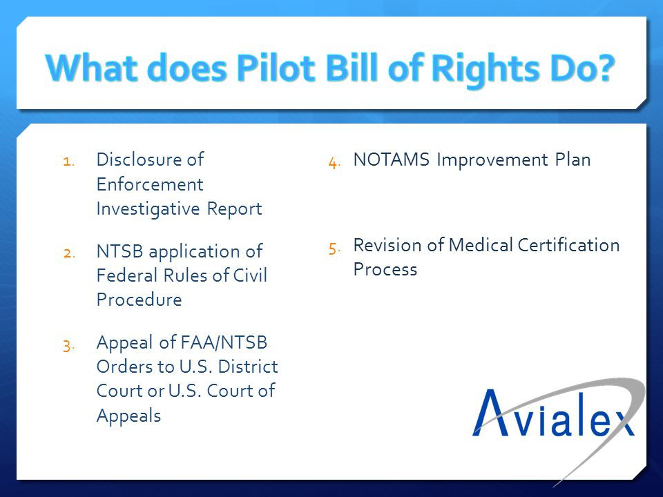 What does Pilot Bill of Rights Do