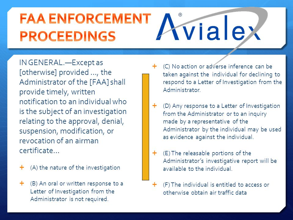 FAA ENFORCEMENT PROCEEDINGS
