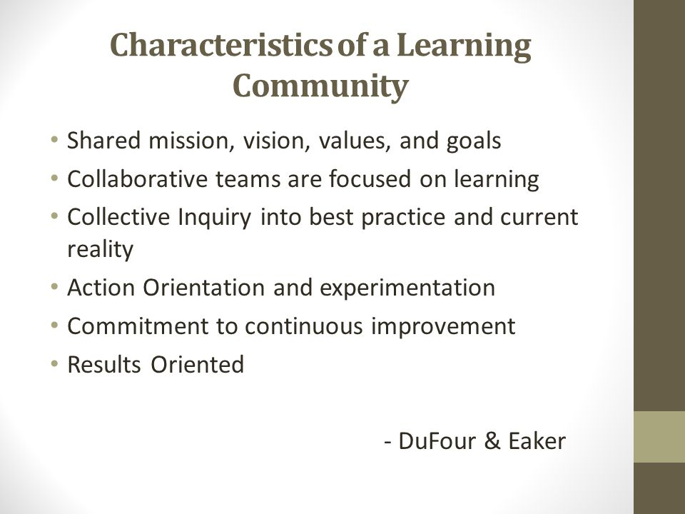 Characteristics of a Learning Community