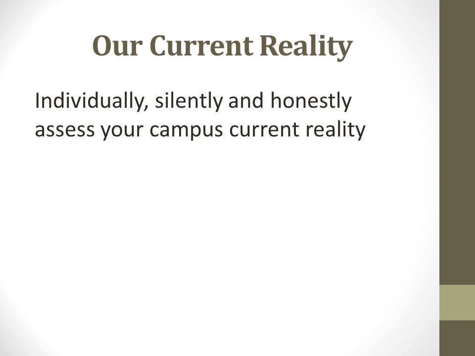 Our Current Reality Individually, silently and honestly assess your campus current reality