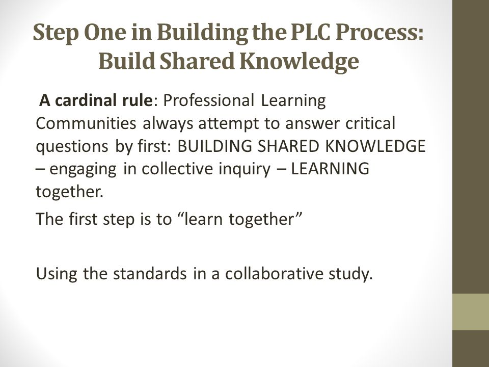 Step One in Building the PLC Process: Build Shared Knowledge