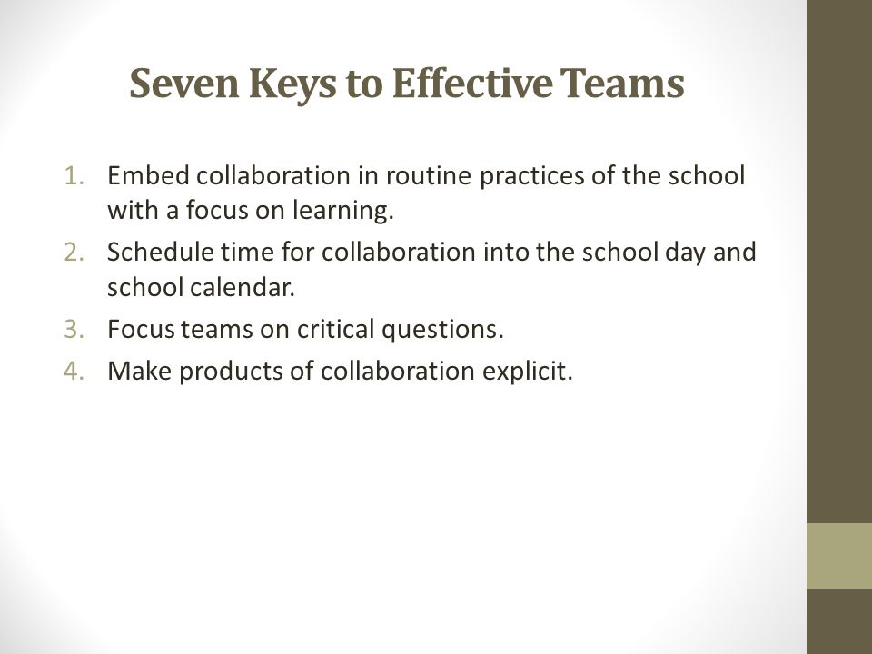 Seven Keys to Effective Teams