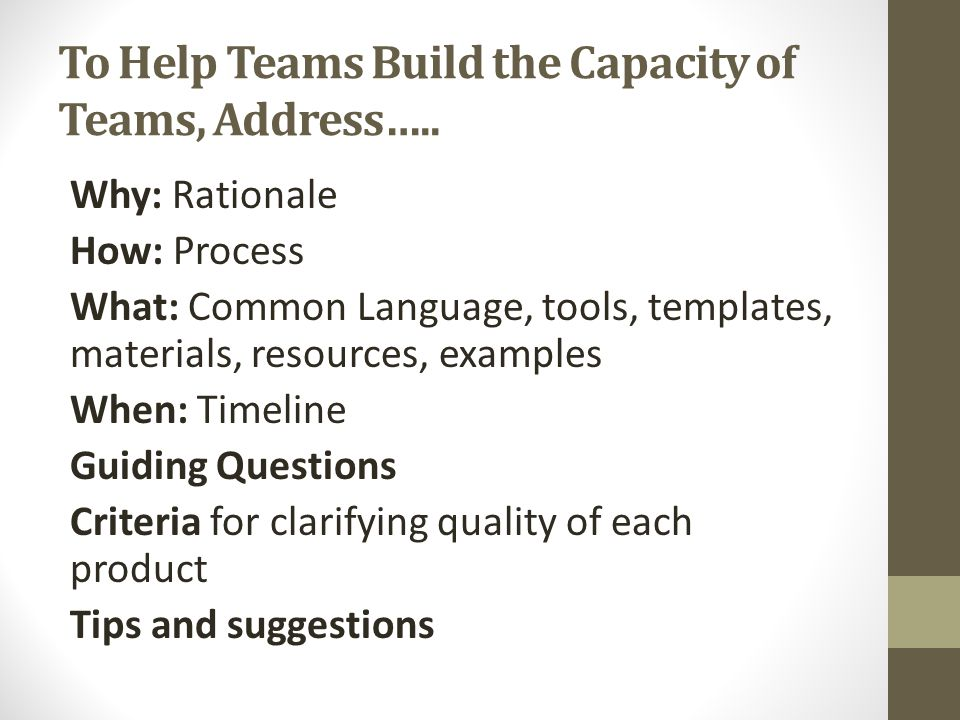 To Help Teams Build the Capacity of Teams, Address…..
