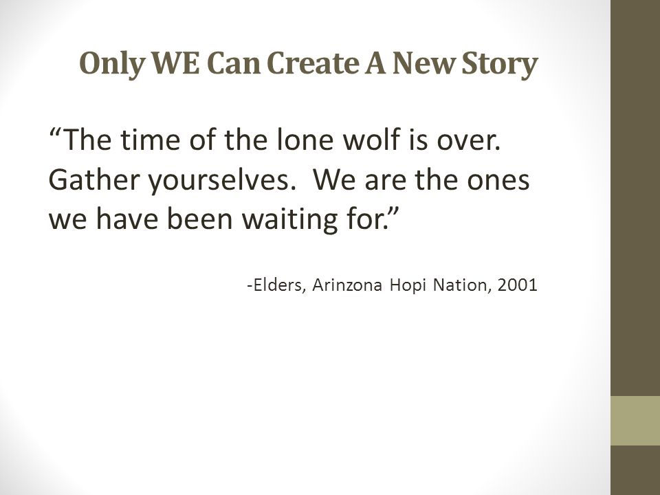 Only WE Can Create A New Story