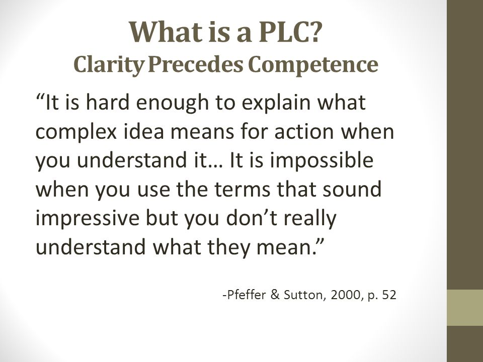 What is a PLC Clarity Precedes Competence