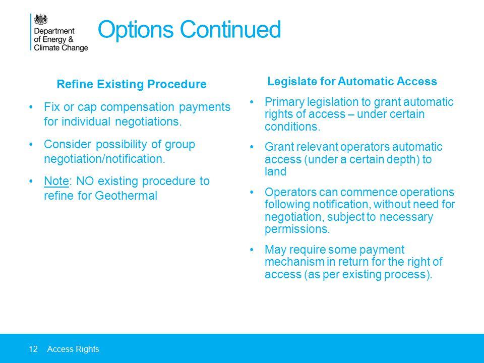 Refine Existing Procedure Legislate for Automatic Access
