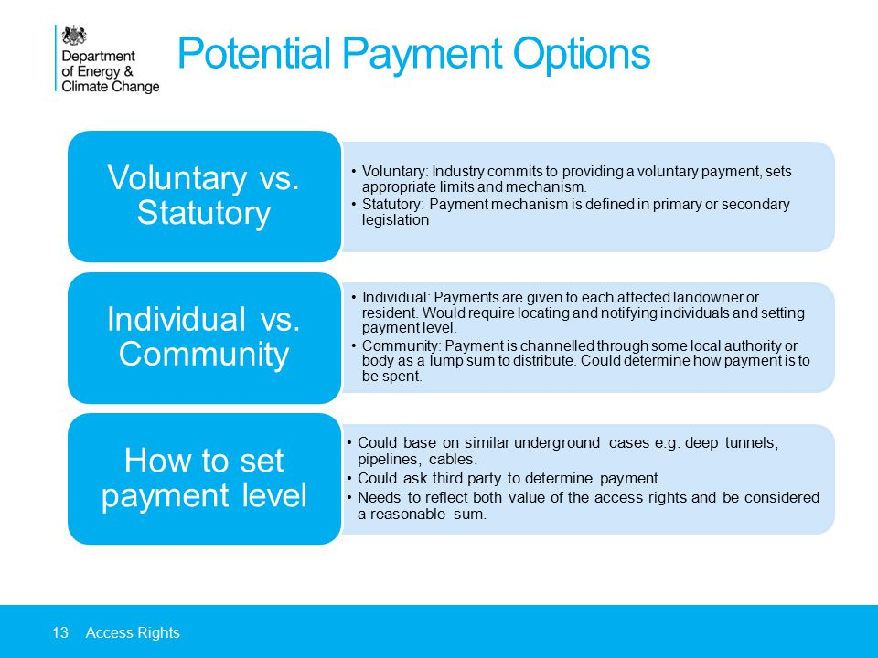 Potential Payment Options