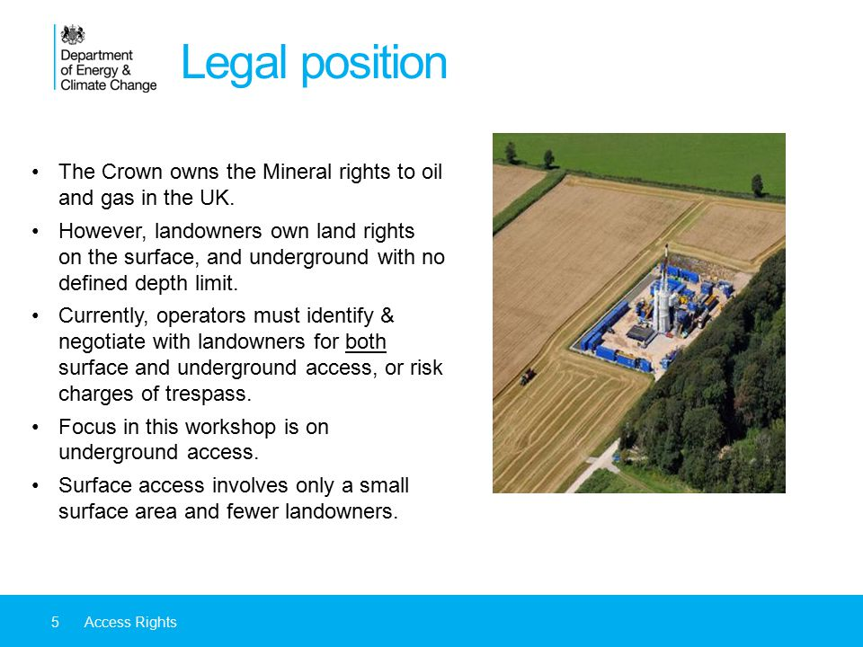 Legal position The Crown owns the Mineral rights to oil and gas in the UK.