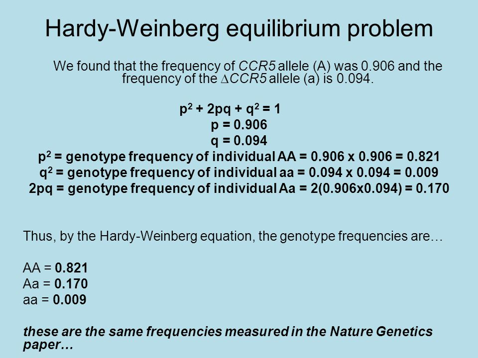 hardy weinberg essay Deviations from hardy-weinberg deviations from expected values may be due to a variety of causes if an excess of heterozygotes is observed this may indicate the.