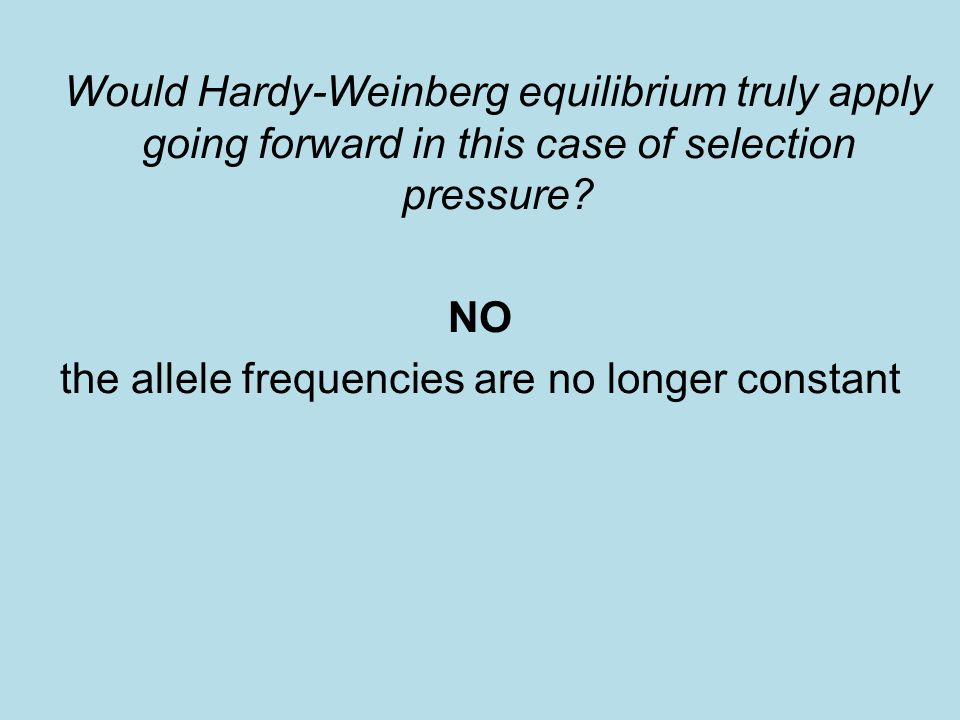 Would Hardy-Weinberg equilibrium truly apply going forward in this case of selection pressure.