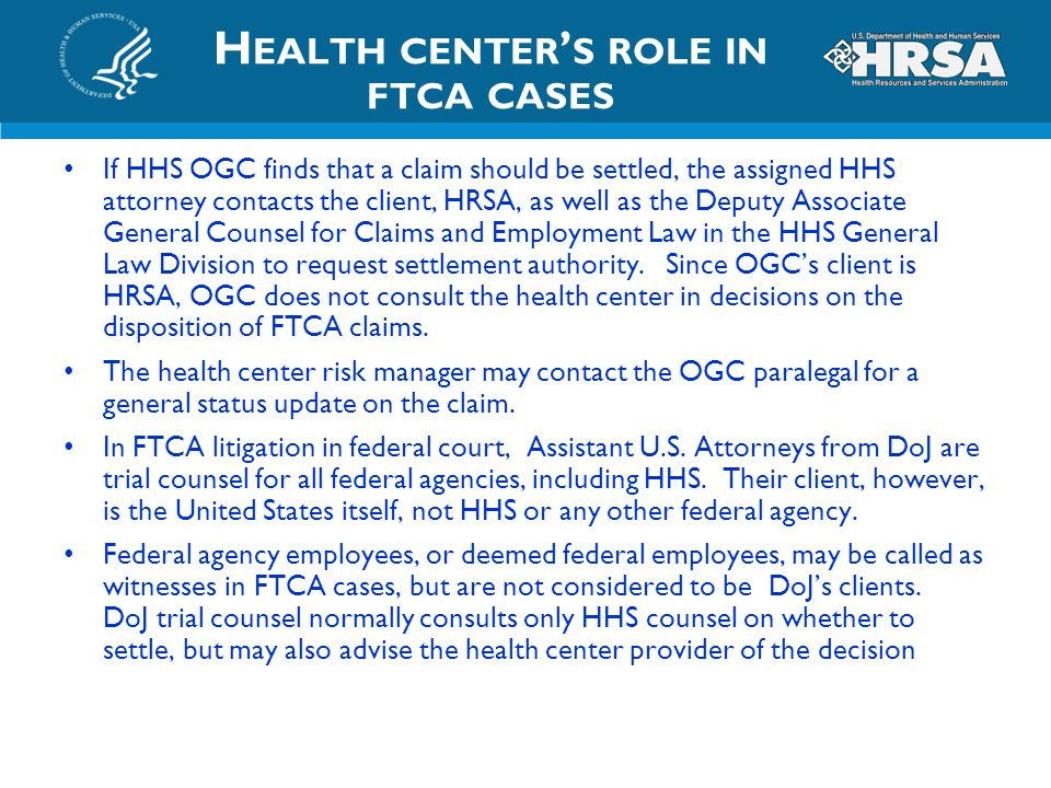 Health center's role in ftca cases