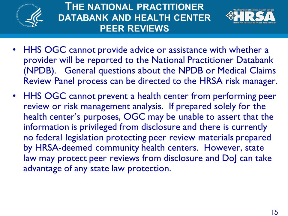 The national practitioner databank and health center peer reviews
