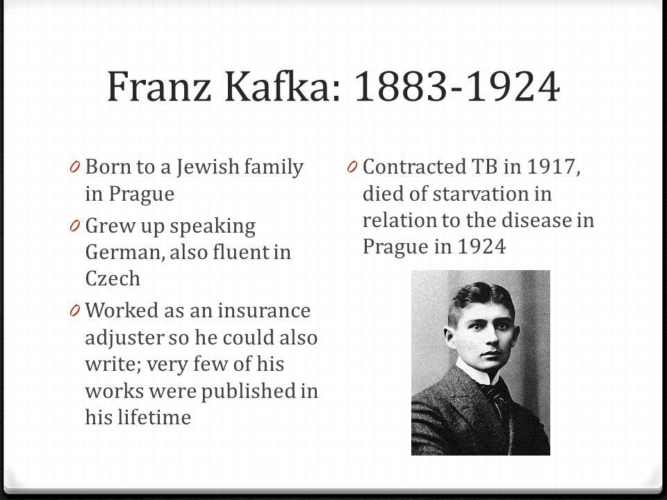 Franz Kafka: 1883-1924 Born to a Jewish family in Prague